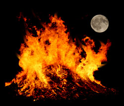 samhain bon fire and moon