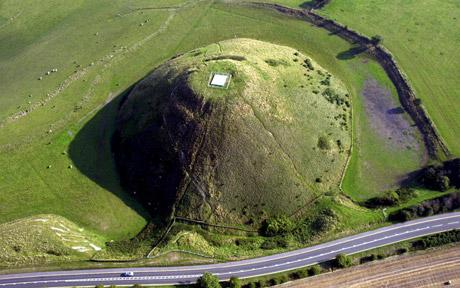 Silbury Hill, Wiltshire which may have been part of an ancient navigational aid for prehistoric