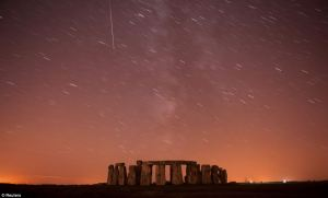 Perseid Meteor shower over Stonehenge.  Streaking down towards Stonehenge across the path of all the other stars in the sky, this shooting star is hurtling to Earth at 135,000 miles per hour – 100 times the speed of Concorde.