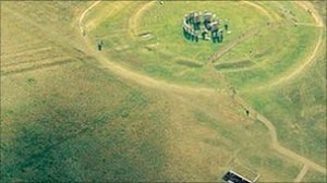 An aerial view of Stonehenge without the A344 road