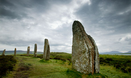 The Ring of Brodgar ancient standing stones in Orkney, Scotland, flank the Brodgar complex, now thought to be older than Stonehenge. Photograph: Murdo Macleod