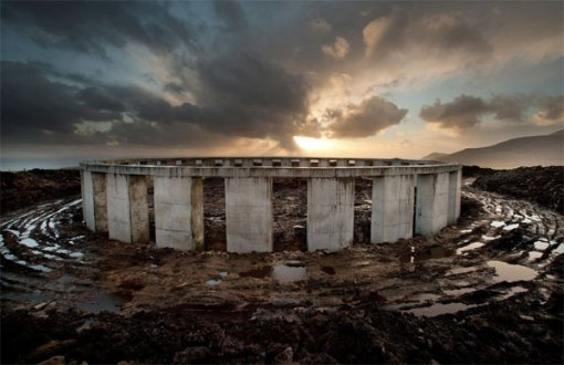 The massive Stonehenge-esque structure erected on an Achill hilltop by Joe McNamara. Photograph: Michael Mc Laughlin