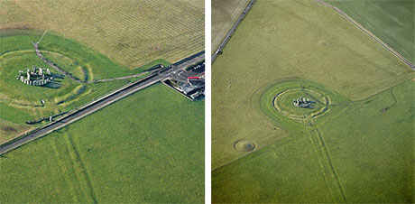 Before and after aerial views of Stonehenge