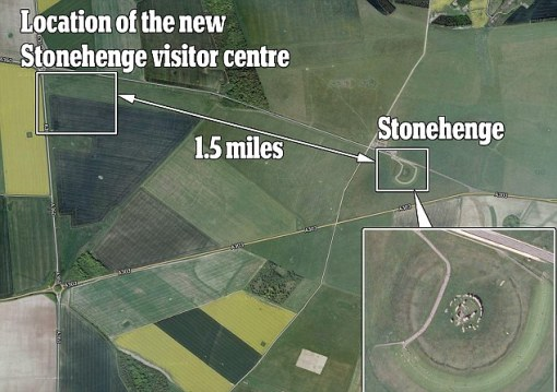 Down the road: An aerial view of the site shows how developers have managed to place the site nearby, without spoiling the immediate surroundings of Stonhenge