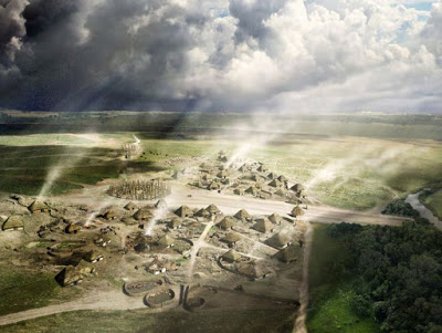 A reconstruction drawing of how the prehistoric village of Durrington Walls  might have looked in 2500BC [Credit: English Heritage]