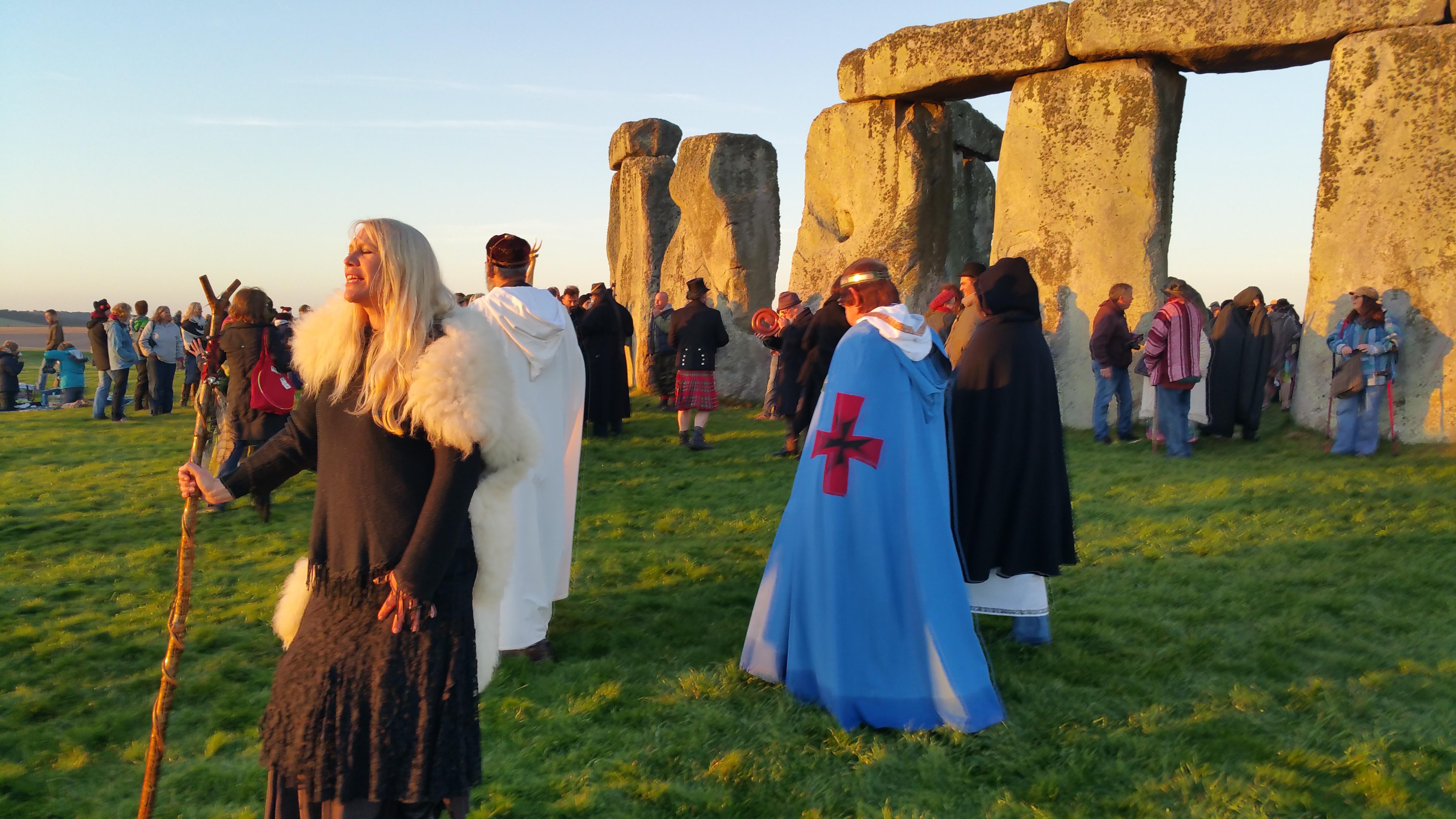 Druids and Pagans enjoying the Equinox sunrise celebrations at Stonehenge.