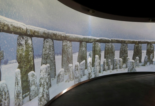 A 360 degree virtual experience video display showing Stonehenge is played at  the new exhibition centre at Stonehenge in Salisbury, southern England