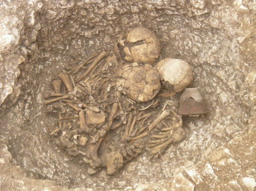 New theory over Stonehenge origins A Beaker or Bronze Age infant burial site at Larkhill. Picture by Wessex Archaeology