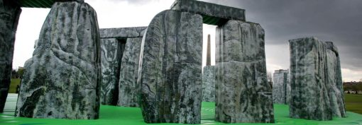 A life-sized, inflatable replica of the British heritage and pagan site, and tourist attraction, Stonehenge.
